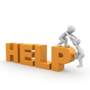 the word help with one figure helping another up