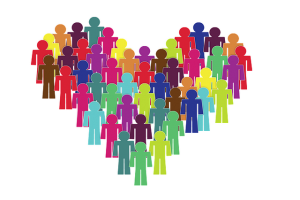 a heart shape containing lots of multicoloured cartoon people
