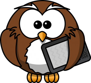 a cartoon owl character carrying a computer tablet