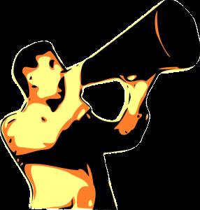 cartoon like image of a man holding a megaphone