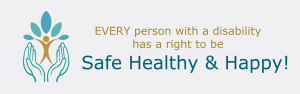 Logo is a person growing in a safe pair of hands. Every person has a right to be safe healthy happy